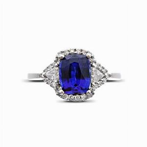 Cushion Cut Sapphire & Diamond Cluster Ring - 2.00ct